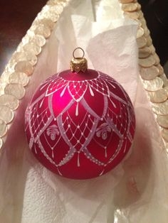 Hand painted Lace & roses Christmas Ornament Red color.