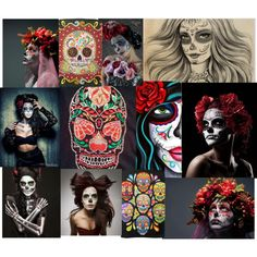 Sugar Skull Art by bee4735 on Polyvore featuring polyvore art