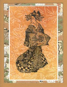 handmade card  by Heather Taylor ... Asian theme ... Japanese line drawing stamped on subtle print paper ... matted with Japanese washi ... earth colors ... Art Neko