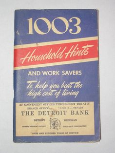 Vtg 1951 1003 Household Hints Remover Work Savers Detroit Bank Michael Gore Book  ..... We are TOP RATED * POWER Sellers on EBAY * Selling WORLDWIDE. Visit us at our EBAY STORE * 4COOLSTUFF2BUY with any questions or items for sale.