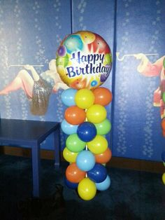 """Balloon column with 40"""" foil on top, great addition to any birthday party!"""