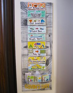a routine chart for little ones - velcro, to incorporate their input/changes.  from acire adventures.