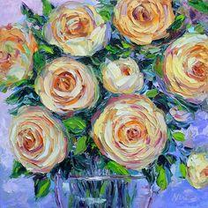 Rose Still Life Oil Painting Palette Knife Impasto Textured Impressionist Original Wall Art on 12x12 Canvas via Etsy