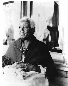 """SARA GRUDGER, age 121     FORMER SLAVE from Burke County, North Carolina""""I never know what it was to rest. I just work all the time from morning till late at night. I had to do everything there was to do on the outside. Work in the field, chop wood, hoe corn, till sometime I feels like my back surely break. I done everything except split rails""""."""