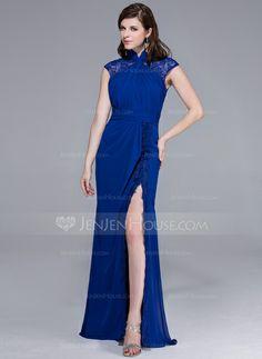 Evening Dresses - $148.99 - Sheath High Neck Floor-Length Chiffon Lace Evening Dress With Ruffle (017025441) http://jenjenhouse.com/Sheath-High-Neck-Floor-Length-Chiffon-Lace-Evening-Dress-With-Ruffle-017025441-g25441?pos=related_products_2
