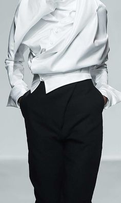 White shirt reinvented with soft folds; fashion details // Aganovich Fall 2015