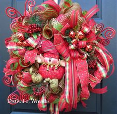 Christmas Deco Mesh Wreath Christmas Front by FestivalofWreaths