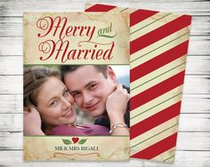 Christmas Sale  Merry and Married Photo Card  Modern by VGInvites
