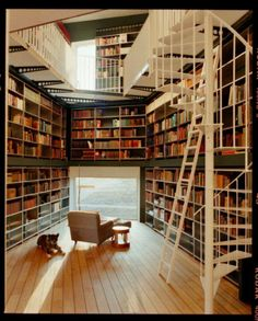I want this but much cozier and not as brightly lit or as wide open. I want my home library to give you the feeling of stepping into a quaint little used bookstore. Dark wood stairs, sliding ladders, and hidden corners where you can get lost in a book.