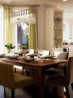 What a great mix of glam and rustic...the adjacent picture of the kitchen is something to see!