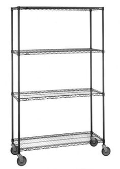 """Olympic 18"""" Deep 4 Shelf Mobile Carts - Black - 18"""" x 48"""" x 59"""" by Olympic. $275.63. Olympic wire shelving made of carbon-steel will exceed all your storage needs. Open construction allows use of maximum storage space of cube. Each unit includes 4 posts, 4 shelves, 4 rubber swivel stem casters - 2 with brakes, 2 without - 4 donut bumpers and split-sleeves to attach shelves to posts. Black finishes are perfect for retail applications. Product Features: Open wire desig..."""