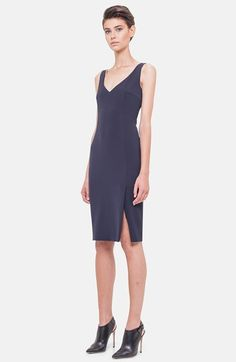 Akris V-Neck Silk Crepe Sheath Dress available at #Nordstrom