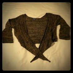 Shoulder cover up Light knit material dark brown and cream mix. Armand & Alba Sweaters
