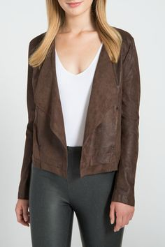 Buffed vegan leather and rivet detail give this cropped jacket off duty status. Liven up jeans or pair it with leggings for a more downtown look. Austin Open Jacket by Lyssé. Clothing - Jackets Coats & Blazers - Jackets - Leather New Jersey