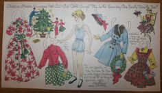 """""""Christine's family trims the tree,"""" a paper doll by Lucy Eleanor Leary, Boston Sunday Post, 1940-1950s"""