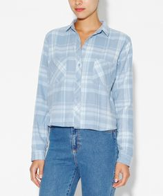 CROPPED BLUES CHECKED SHIRT   Shirts   Tops   Clothing   Shop Womens   General Pants Online
