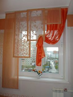 Curtains for a small kitchen photo: kitchen window Sheet Curtains, Tulle Curtains, Hanging Curtains, Curtains With Blinds, Window Curtains, Rideaux Design, Beautiful Curtains, Kitchen Photos, Curtain Designs