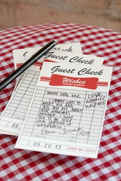 "A Mom's Diner Theme would be perfect for a baby shower! You can even print out these ""guest checks"" for attendees to write their words of advice. LOVE it! #babyshower @HUGGIES Baby Shower Planner"