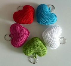 Knitting Patterns Bag Crochet heart for your keychain, your bag or wherever – hearts fit all … Cute Crochet, Crochet Crafts, Crochet Dolls, Crochet Clothes, Easy Crochet, Crochet Baby, Crochet Projects, Knit Crochet, Diy Crafts