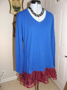 PRISSY GAL Royal Blue Tee Shirt With Burgundy by MissPoppysFancy