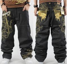 (31.02$)  Know more  - Fashion Man Jeans  Pants Embroidery HIPHOP Street Dance Leisure Loose Losing Weight Plus Size skateboard pants