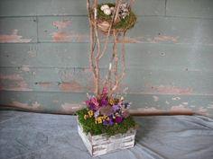 Dried flower centerpiece in birch box w/ birds nest and eggs.