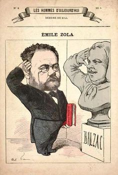 Caricature Gill pour un hommage de Zola à Balzac vers 1880.