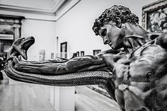 "The story behind Hercules and the Hydra goes like this: King Eurystheus told Hercules he had to go kill the Hydra. The Hydra was a huge snake with seven heads. Hercules thought, ""Well, that s… Statue Tattoo, Statue En Bronze, Greek Mythology Tattoos, Hercules Mythology, Greek Statues, Ancient Greek Sculpture, Art Sculpture, Greek Art, Classical Art"