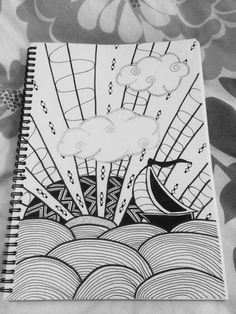 Clouds with a silver lining Zentangle Doodle