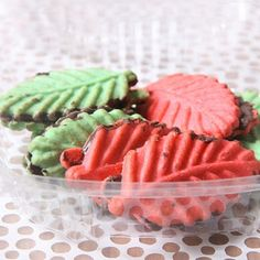Pink & Green Leaf Cookies - brightly colored butter cookies sandwiched with chocolate.