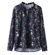 DressLily - Dresslily Ruffled Neckline Printed Blouse - AdoreWe.com