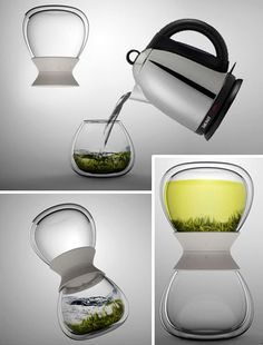 """Tea for 2 Hourglass-Inspired Tea Timer both Times & Steeps Hot Tea. """"A pair of identical glass vessels twist together mechanically via a plastic joiner piece to form the sealed middle between two hourglass-shaping bulbs, each sized for a single two-person serving of tea."""""""