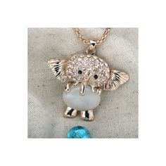 Cats Eye Stone Elephant Pendant Necklace Gold Rhinestone via Polyvore