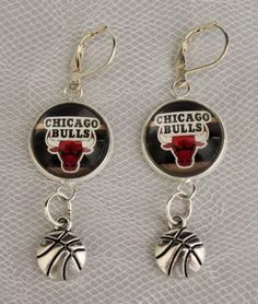 Chicago Bulls Earrings w/ Basketball Charm Unique Upcycled from Basketball Cards #ChicagoBulls