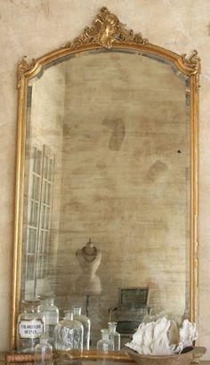 Vintage Gold Mirror (Attach a floor length mirror to a vintage door frame)