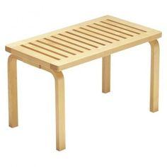 "The Bench 153 by Alvar Alto  Material(s): Birch wood  Dimensions:  Short bench: 17.3"" H x 28.5"" W x 15.7"" D  Long bench: 17.3"" H x 44.3"" W x 15.7"" D"