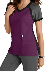 Greys Anatomy 3 Pocket Color Block V-neck Scrub Tops Main Image Más Scrubs Outfit, Scrubs Uniform, Stylish Scrubs, Cute Scrubs, Greys Anatomy Scrubs, Greys Anatomy Uniforms, Medical Uniforms, Nursing Uniforms, Womens Scrubs