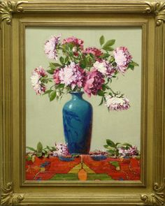 Robert Johnson   Peonies In A Blue Vase  Oil - 24 by 18 Inches  $4,500   trailsidegalleries.com#trailsidegalleries #mothersday #paintings #art