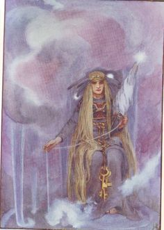 "Freya (Old Norse Freyja, ""Lady"") is one of the preeminent goddesses in Norse mythology. She's a member of the Vanir tribe of deities, but became an honorary member of the Aesir gods after the Aesir-Vanir War. Her father is Njord. Her mother is unknown, but could be Nerthus. Freyr is her brother. Her husband, named Odr in late Old Norse literature, is certainly none other than Odin, and, accordingly, Freya is ultimately identical with Odin's wife Frigg Artist~Helen Stratton"