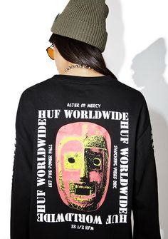 "HUF Vibes Long Sleeve Tee cuz that's my vibe rn, bb. Get on da wave with this graphic long sleeve featuring a classic fit with printed sleeves that reads ""huf worldwide,"" ""shocking waves dbc"" on the chest, and a sik design on the back that makes yew want to worship the alter of mercy."
