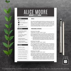 Resume Template & Cover Letter Template | Professional Modern Creative Resume Template | MS Word for Mac + PC | US Letter + A4 | 4 pk | Cv