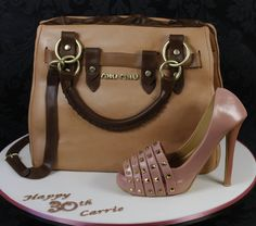 Mui Mui Handbag Cake with Valentino Shoe - cake by kingfisher Shoe Box Cake, Shoe Cakes, Cupcake Cakes, 3d Cakes, Handbag Cakes, Purse Cakes, Luggage Cake, Gucci Cake, Fashionista Cake