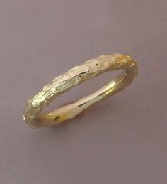 14k Yellow Gold Twig Wedding Ring  Narrow Pine Branch by esdesigns