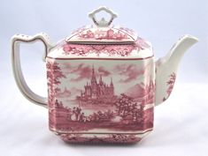 Classic Red French Toile Square Teapot - Red French Toile