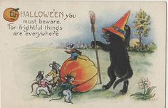 Halloween Post Card of Black Cat Warning Mice of Frightful Things