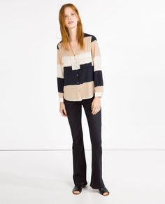 WIDE STRIPED BLOUSE-Blouses-TOPS-WOMAN | ZARA United States
