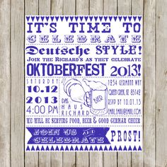 Oktoberfest Bier Beer Party Printable Invitation Oktoberfest - Birthday invitation in germany