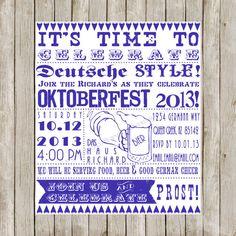 Custom Western Retro Oktoberfest Invitation