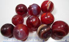 10 Rare Red Machine Made Slag Marbles
