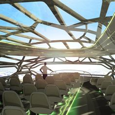 Proposed for the year 2050, the plane would offer passengers seats that change shape, aromatherapy and antioxidant-enriched air.  Source ~ Dezeen.com